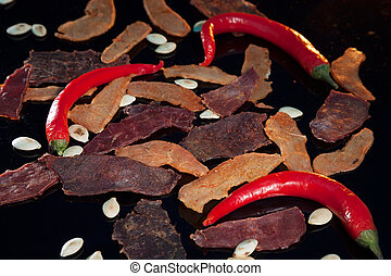 biltong white and red. still life