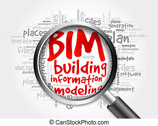BIM - building information modeling word cloud with magnifying glass, business concept 3D illustration