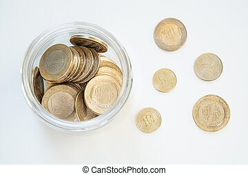 Bimetallic 1 Turkish New lira (TRY) coins in a jar isolated on white background