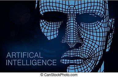 binário, cabeça, código, combinado, human