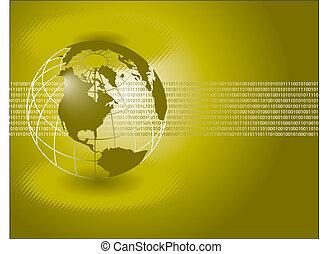 binário, globo, verde, números