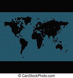 binário, mapa mundial