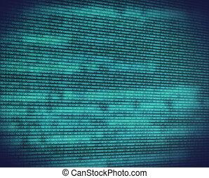 binário, turquesa, código, tela, digital, abstratos
