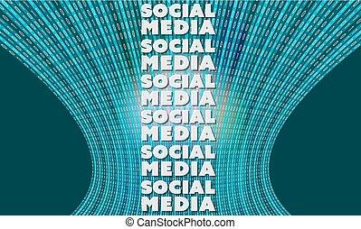 binärcode, medien, vektor, hintergrund, wörter, sozial, zukunftsidee