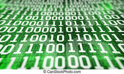 binärcode, screen., closeup.