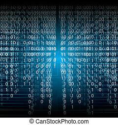 binärer, abstrakt, blauer hintergrund, technologie