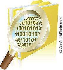 binärer, begriff, glas, aktenordner, daten, vergrößern