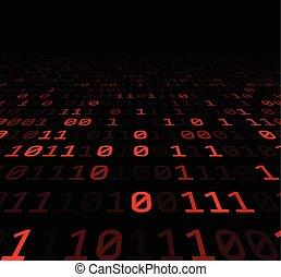 binärer, digits., hintergrund, rotes