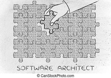 binärer, fehlend, puzzel, hand, architekt, stück, code, software
