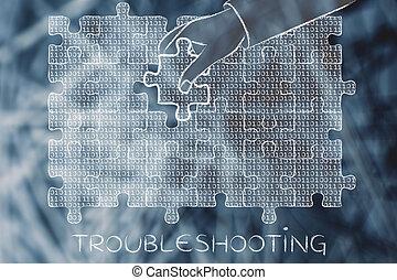 binärer, fehlend, puzzel, hand, fehlersuche, stück, code