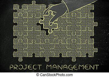 binärer, geschäftsführung, fehlend, puzzel, hand, projekt, stück, code