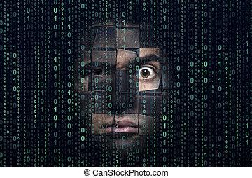 binärer, hacker, code