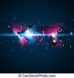 binärer, kodierung, technologie, hintergrund