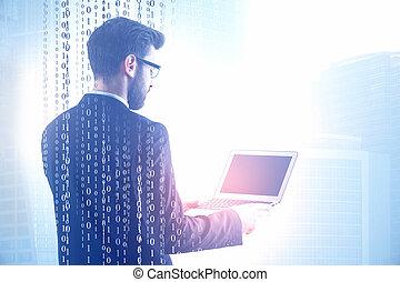 binärer, laptop, code