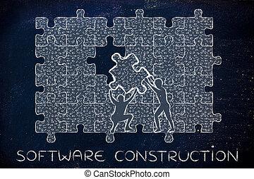 binärer, puzzel, lücke, füllung, baugewerbe, stück, code, software