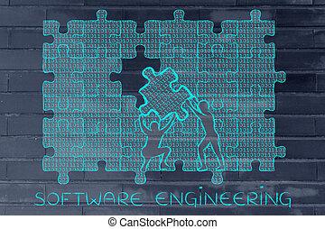 binärer, puzzel, technik, lücke, füllung, stück, code, software