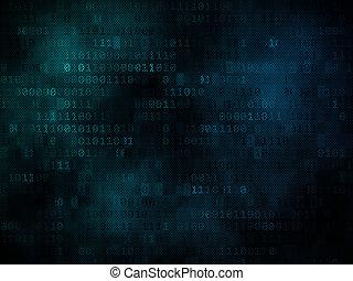 binärer, schirm, pixeled, hintergrund, digital