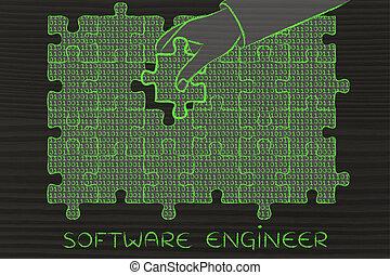 binärer, software, fehlend, puzzel, hand, stück, code, ingenieur