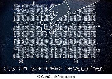 binärer, stück, fehlend, puzzel, sitte, hand, code, software