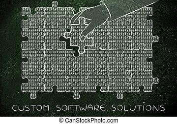 binärer, stück, fehlend, puzzel, solutons, sitte, hand, code