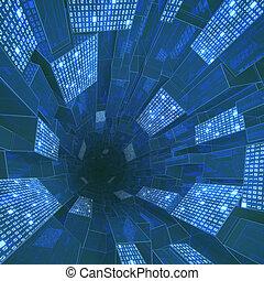 binärer, tunnel
