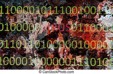 binärer, virus, daten