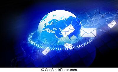 binärer, welt, mit, e-mailmitteilungen