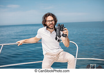 binóculos, através, olha, bote, homem