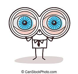 Olhos Grandes Homem Zangado Caricatura