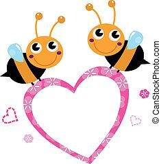 bin, älska hjärta, isolerat, söt, flygning, rosa, vit