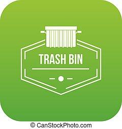 Bin container icon green vector