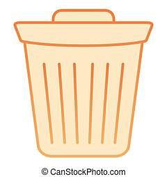Bin flat icon. Trash orange icons in trendy flat style. Bucket gradient style design, designed for web and app. Eps 10.