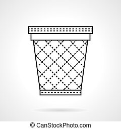 Bin for paper flat line vector icon