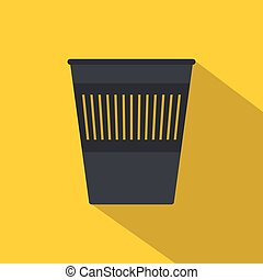 Bin for papers icon, flat style