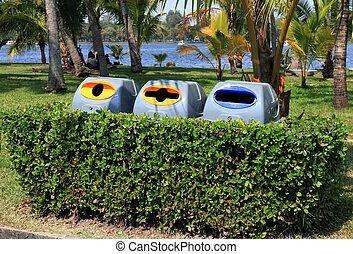Bin, garbage bin plastic, Plastic waste bin 3 types of waste for recycle in tree wall at garden public