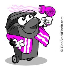 Bin & hair dryer. - cartoon wheelie bin drying hair. On...