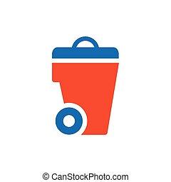 bin icon design blue and orange