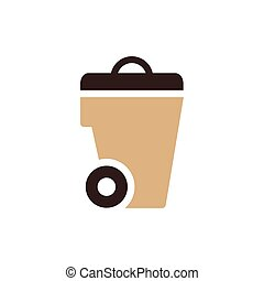 bin icon design brown color