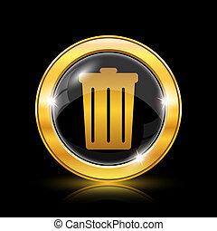 Bin icon - Golden shiny icon on black background - internet ...