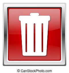 Bin icon - Metallic icon with white design on red background