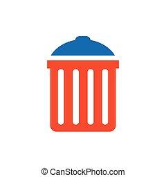 bin icon vector blue and orange