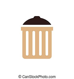 bin icon vector brown color