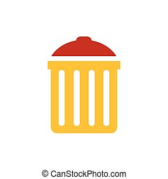 bin icon  vector yellow and red color