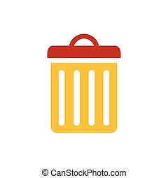 bin icon  yellow and red color