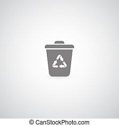 bin symbol on gray background