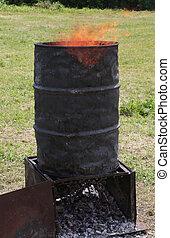 bin to light the fire