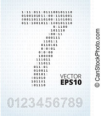 binair, 0-9, code, getal, alfabet