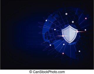 binair, beschermen, code, schild, globaal, achtergrond., wereld, netwerk