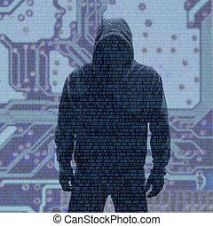 binair, codes, met, hacked, wachtwoord