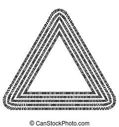 binair, concept., code, getallen, triangle.